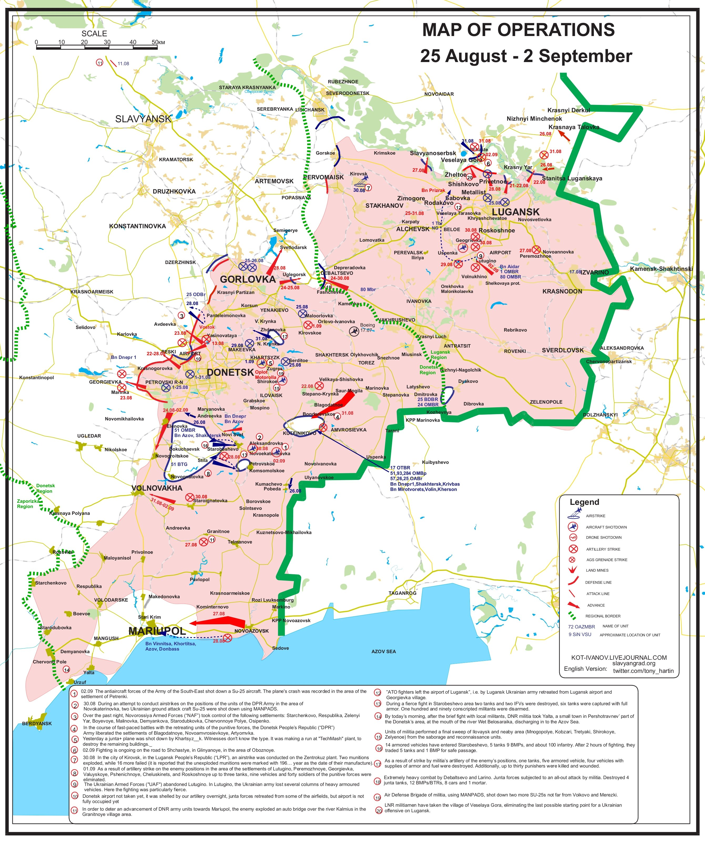 Ukraine military operations map Aug 2014 - Sep 2014